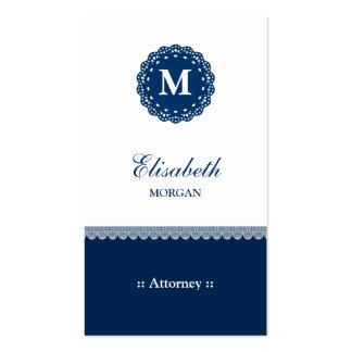 Attorney Elegant Blue Lace Monogram Pack Of Standard Business Cards