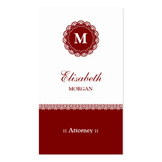 Attorney Elegant Red Lace Monogram Pack Of Standard Business Cards