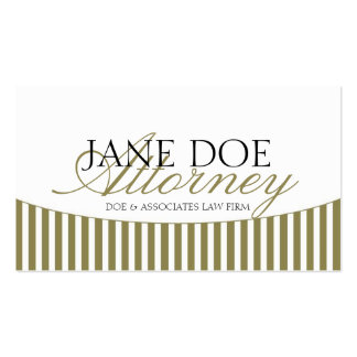 Attorney Gold Script Stripes/White Paper Business Card