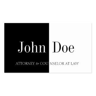 Attorney Half Half B W Business Cards