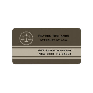 Attorney Justice Scales Lawyer Address Label