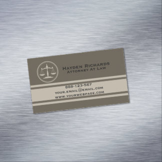 Attorney Justice Scales Lawyer Magnetic Business Card
