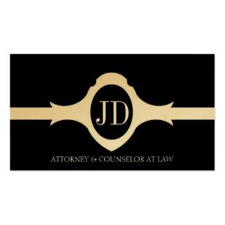 Attorney Lawyer Fancy Shield Black Gold Ribbon Business Card