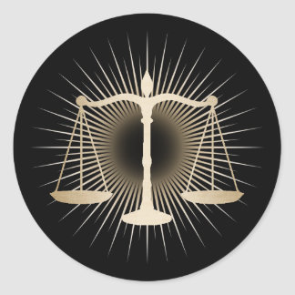 Attorney Lawyer Gold Scale of Justice Elegant Law Round Sticker