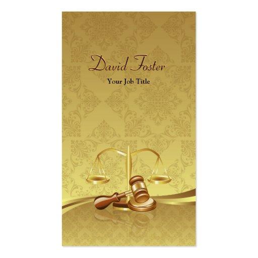 Attorney Lawyer Justice - Elegant Gold Leaf Damask Business Card Template