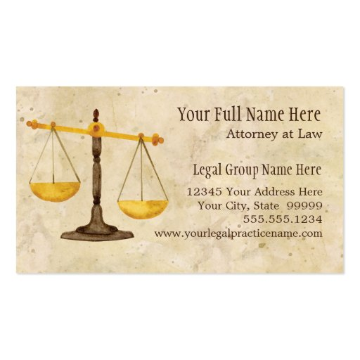 Attorney Lawyer Legal Practice Judge Symbol Business Cards