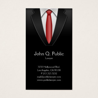 Attorney Lawyer Tailor Black Suit Red Tie Business Card