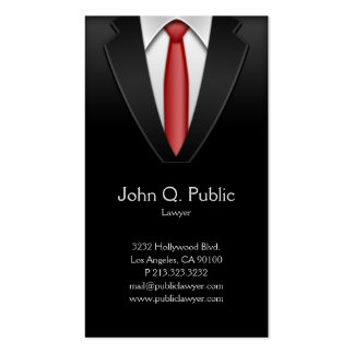Attorney Lawyer Tailor Black Suit Red Tie Pack Of Standard Business Cards