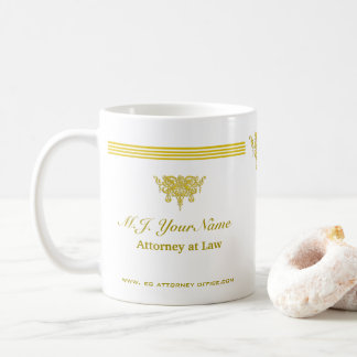 Attorney luxury stripes and gold Justice emblem Coffee Mug