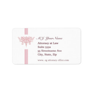 Attorney luxury stripes and pink Justice emblem Address Label