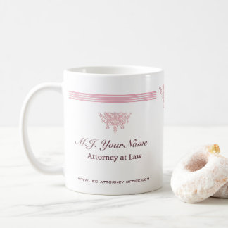 Attorney luxury stripes and pink Justice emblem Coffee Mug