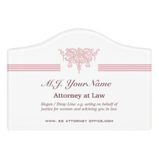 Attorney luxury stripes and pink Justice emblem Door Sign
