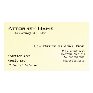 Attorney Modern II - Simple, Clean, Elegant Pack Of Standard Business Cards