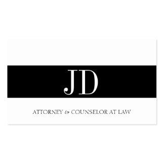 Attorney Monogram Black/White Bandit Business Card Templates