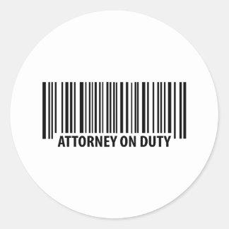 attorney on duty round sticker