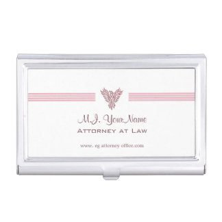 Attorney or Lawyer luxury stripes and pink phoenix Business Card Holder