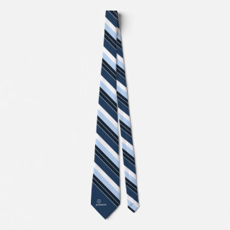 Attorney Personalized Navy Blue White Stripes Tie