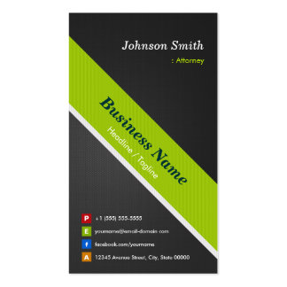 Attorney - Premium Black and Green Pack Of Standard Business Cards