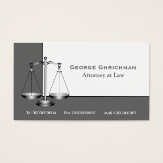 Attorney scale of justice  business card
