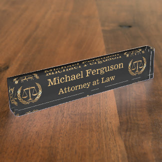 Attorney Scales of Justice Black and Gold Nameplates