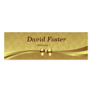Attorney - Shiny Gold Damask Pack Of Skinny Business Cards