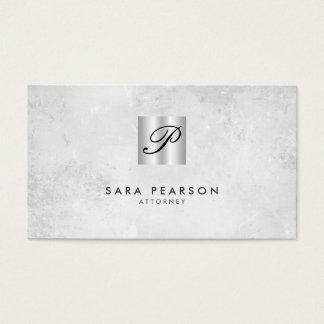 Attorney Silver Script Monogram Business Card