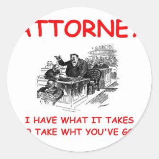 attorney round stickers