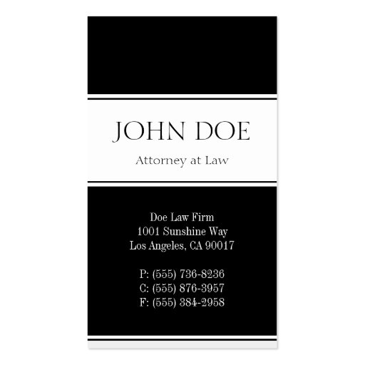 Attorney Vertical Black Business Card Template