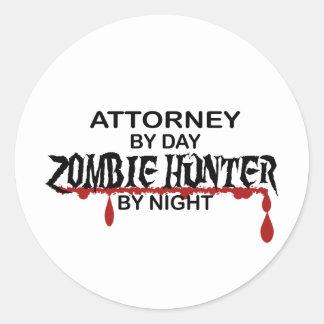Attorney Zombie Hunter Round Sticker