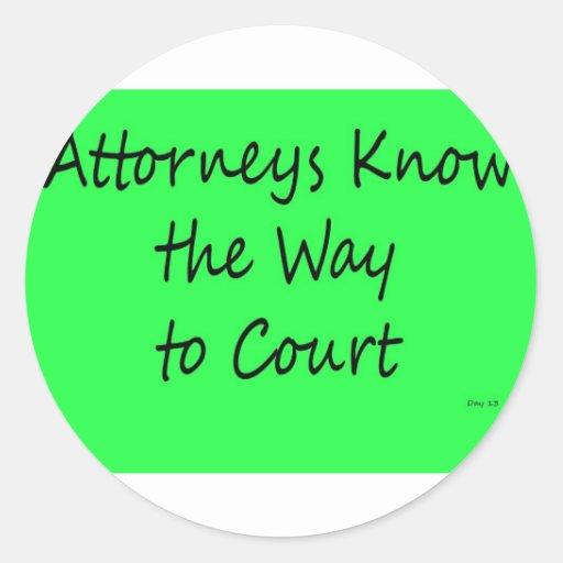 Attorneys Know the Way to Court Round Stickers