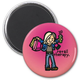 attracted to shopping. 6 cm round magnet