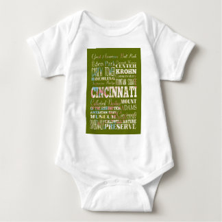 Attractions and Famous Places of Cincinnati, Ohio Baby Bodysuit