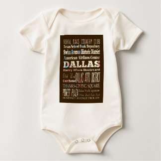 Attractions and Famous Places of Dallas, Texas Baby Bodysuit