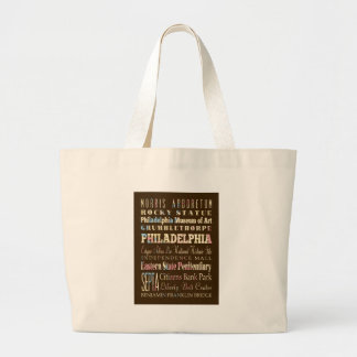 Attractions and Famous Places of Philadelphia Large Tote Bag