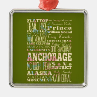 Attractions & Famous Places of Anchorage, Alaska. Metal Ornament