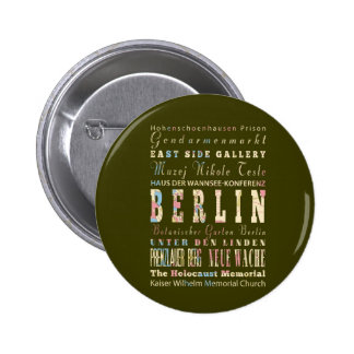 Attractions & Famous Places of Berlin,Germany. 6 Cm Round Badge