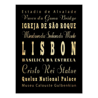 Attractions & Famous Places of Lisbon, Portugal Poster