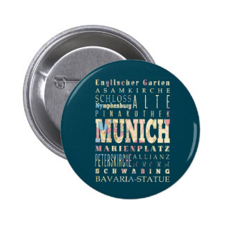 Attractions & Famous Places of Munich,Germany. 6 Cm Round Badge