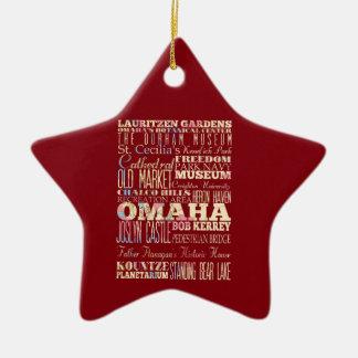 Attractions & Famous Places of Omaha, Nebraska. Ceramic Ornament