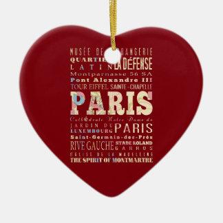 Attractions & Famous Places of Paris, France. Ceramic Heart Decoration