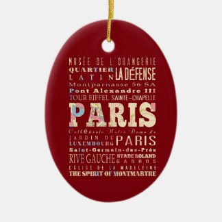 Attractions Famous Places of Paris France Christmas Tree Ornament