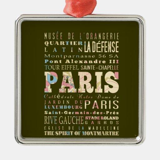 Attractions & Famous Places of Paris, France. Christmas Ornaments