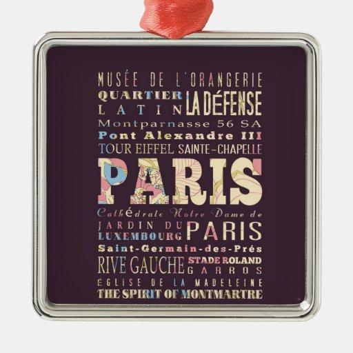 Attractions & Famous Places of Paris, France. Ornament
