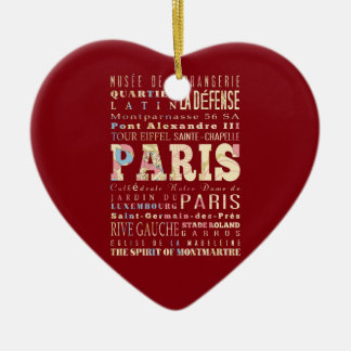 Attractions & Famous Places of Paris, France. Christmas Tree Ornaments