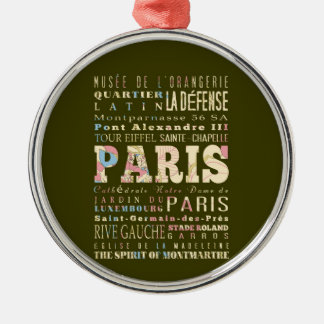 Attractions & Famous Places of Paris, France. Silver-Colored Round Decoration
