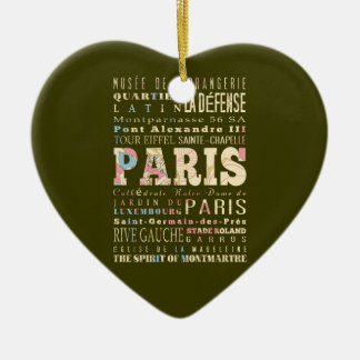 Attractions Famous Places of Paris France Christmas Tree Ornaments