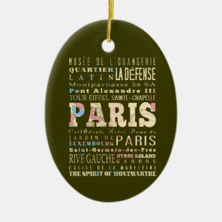 Attractions & Famous Places of Paris, France. Ceramic Oval Decoration