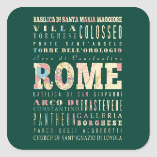 Attractions & Famous Places of Rome, Italy. Square Sticker