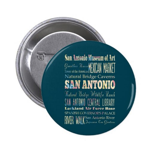 Attractions & Famous Places of San Antonio, Texas. Pinback Buttons