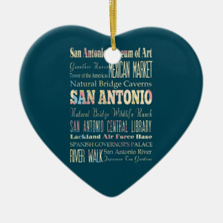 Attractions & Famous Places of San Antonio, Texas. Ceramic Heart Decoration